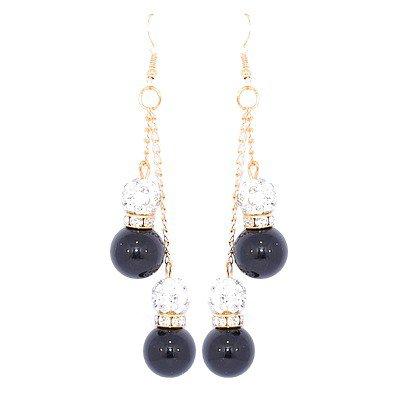 Boucles d'oreilles perles noires et shamballa