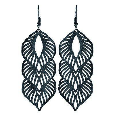 Boucles d'oreilles noires 3 motifs feuilles ajourées