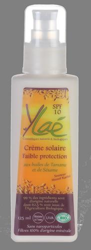 Crème solaire Faible protection SPF 10