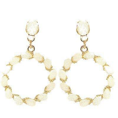 Boucles d'oreilles Créoles couleur doré et blanc