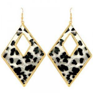Boucles d'oreilles pour femme - Créoles losange noir et blanche